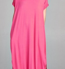 red lolly fuschia stretch jersey maxi dress