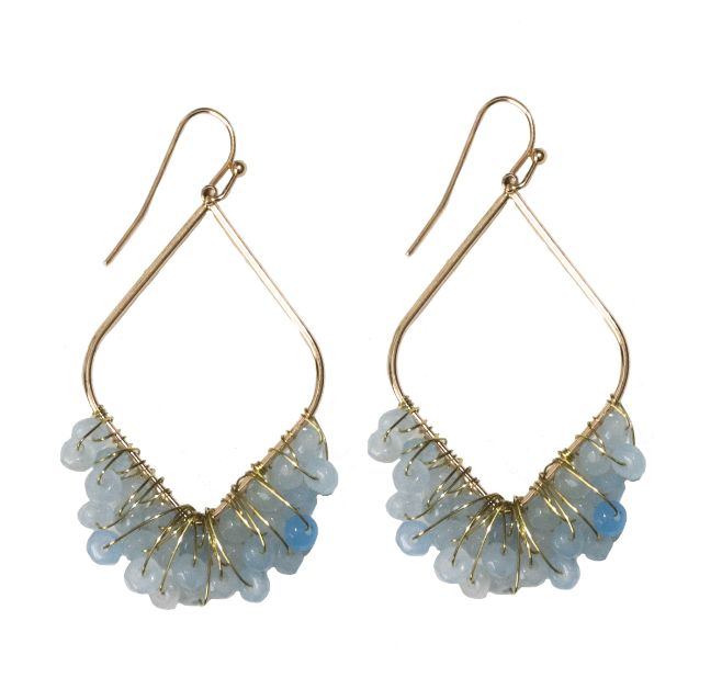 gold drop earrings with blue beads