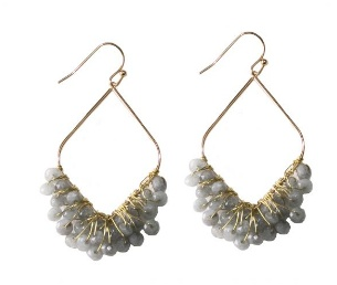 gold drop earrings with grey beads