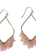 gold drop earrings with pink beads