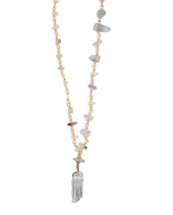 verbena fluorite beaded chain necklace