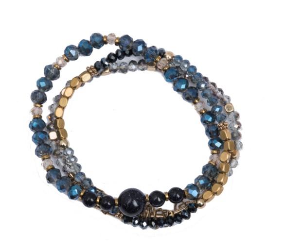 Rosie 3 Row Stretch Bracelet with blue sandstone
