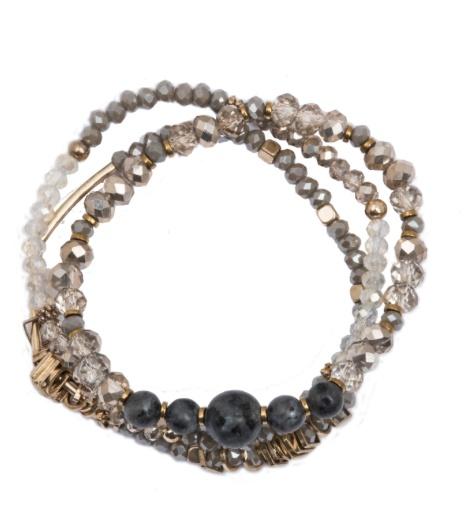 Rosie 3 Row Stretch Bracelet with Labradorite