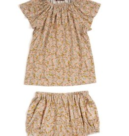 milkbarn rose floral bamboo dress & bloomer set
