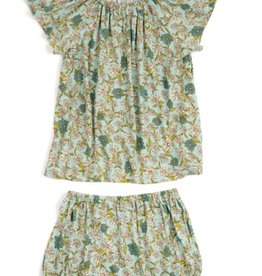 milkbarn blue floral bamboo dress & bloomer set