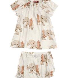 milkbarn tutu elephant bamboo dress & bloomer set