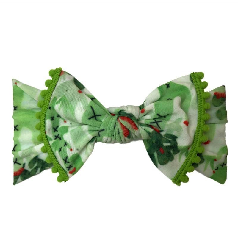 Baby Bling cactus + kiwi trimmed printed knot headband