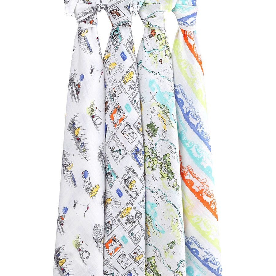 aden+anais winnie the pooh 4-pack swaddles