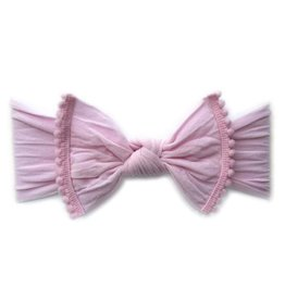 Baby Bling pink pom trimmed classic knot