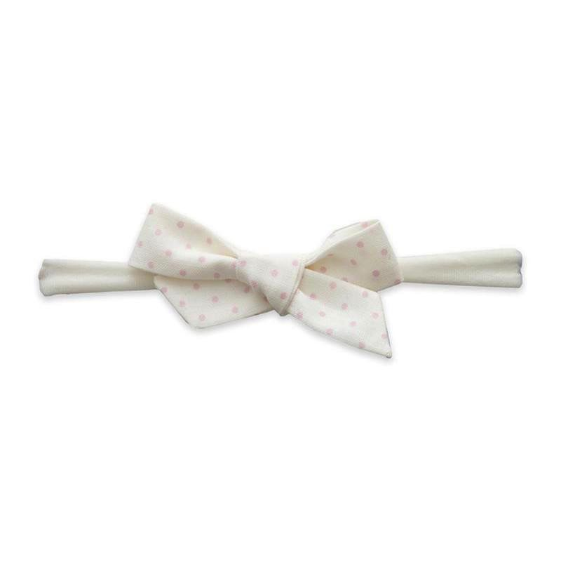 Baby Bling ivory + pink dot cotton print bow