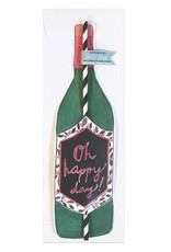 curly girl design oh happy day wine straw card
