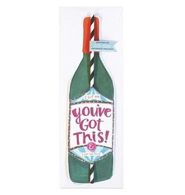 curly girl design you've got this wine straw card
