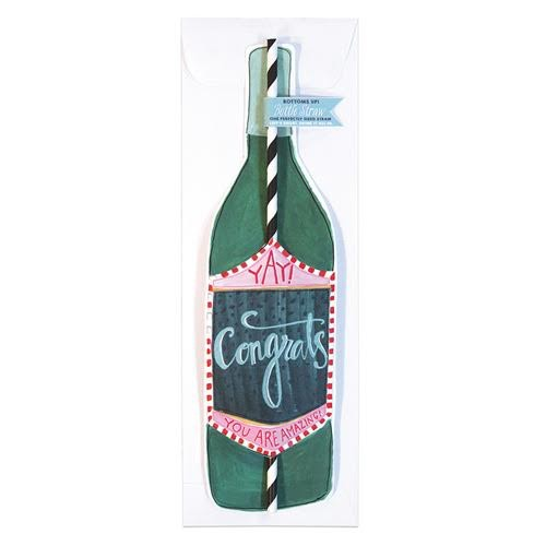 curly girl design congrats wine straw card
