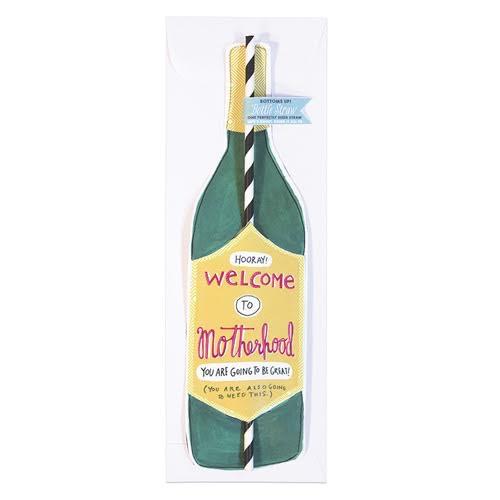 curly girl design motherhood wine straw card