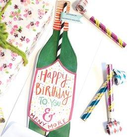 curly girl design happy birthday wine straw card