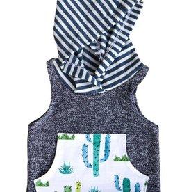 luluandroo navy cactus sleeveless hoodie FINAL SALE