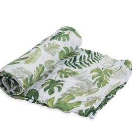 tropical leaf cotton muslin swaddle