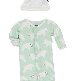 kickee pants aloe manatee print layette gown converter & knot hat set