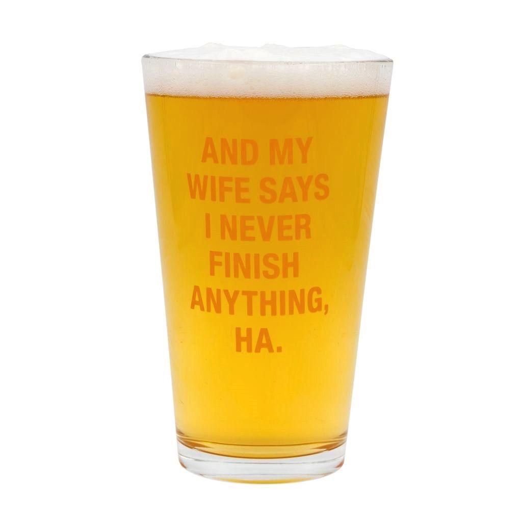 never finish pint glass
