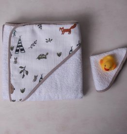 forest friends cotton hooded towel & wash cloth set
