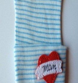blue & white striped mom tattoo newborn hat