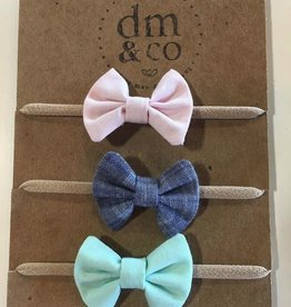 dainty mae mini winnie bundle set of 3 - aqua, baby pink & indigo chambray