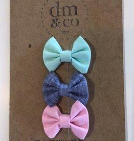 dainty mae mini winnie bundle set of 3 clips - aqua, indigo chambray & baby pink