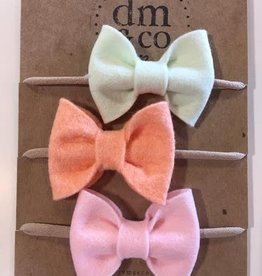 dainty mae jane bow set of 3 headbands- honeydew, peach blush & light pink