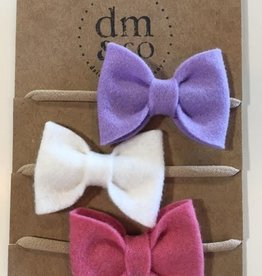 dainty mae jane bow set of 3 headbands - fields of lilac, english rose pink & white