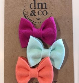 dainty mae jane bow set of 3 clips - magenta, papaya & arctic mint