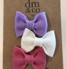 dainty mae jane bow set of 3 clips - fields of lilac, english rose pink & white