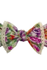 Baby Bling light orchid floral & ivory lace trimemed printed knot headband