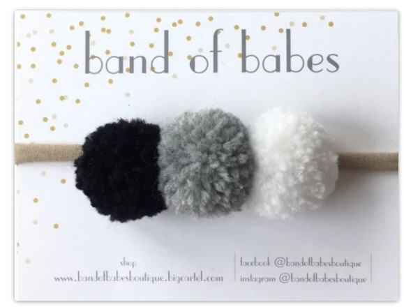 band of babes colette pom headband - blk/gry/wht