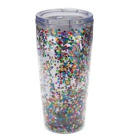 slant multi colored confetti tumbler