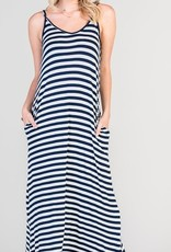 red lolly striped strappy maxi