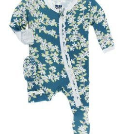 kickee pants peacock tree canopy print muffin ruffle footie with zipper