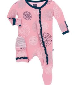 kickee pants lotus blooms print muffin ruffle coverall with snaps