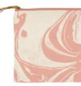 slant Peach Marble Cosmetic Bag