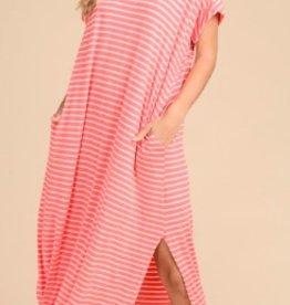 trend shop coral striped stretch maxi
