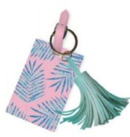 slant palm leaves luggage tag with tassel
