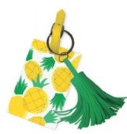 slant pineapple luggage tag with tassel