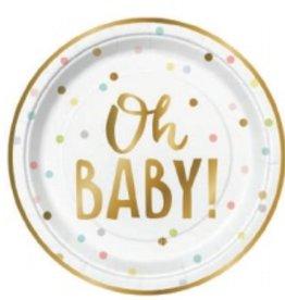 "slant oh baby confetti 7"" paper plates 8ct"