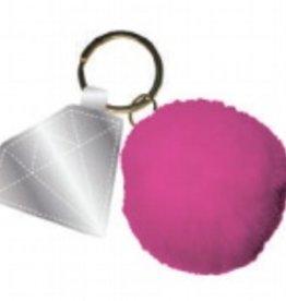 slant diamond key chain with pom pom