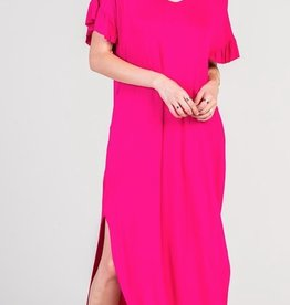 red lolly jersey frilly maxi dress