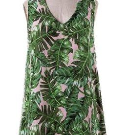 nadia collection tie neck leaf print dress FINAL SALE
