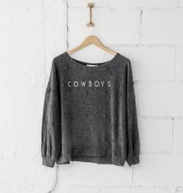 LivyLu simply cowboys shredded sweatshirt