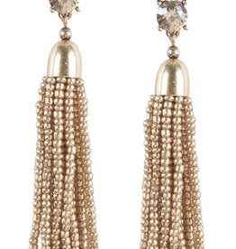 judys accessories simple gem with beaded tassel earrings