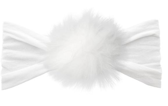 Baby Bling rabbit fur pom: white