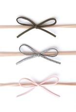 Baby Bling 3pk suede cord bow: grey/pnk/armygrn