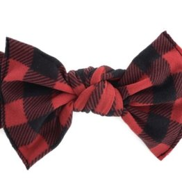 Baby Bling red black plaid printed knot
